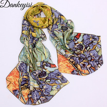 DANKEYISI 2019 ゴッホ油絵シルクスカーフ女性 & 男性のスカーフ 100% 本物のシルクのスカーフ女性の高級ブランドデザイナースカーフ