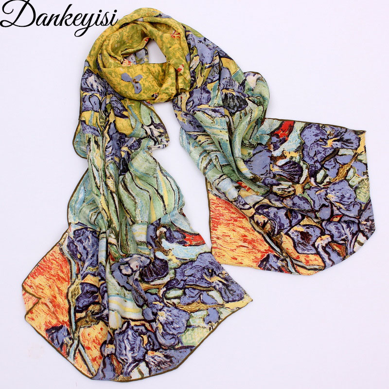 Image 1 - DANKEYISI 2019 Van Gogh Oil Painting Silk Scarf Women & Men Scarf 100% Real Silk Scarves Female Luxury Brand Designer Scarves-in Women's Scarves from Apparel Accessories on AliExpress