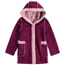Autumn Winter New Girls Hooded coat Outerwear leisure outerwear warm suede fleece Fluffy 160 150 140 130