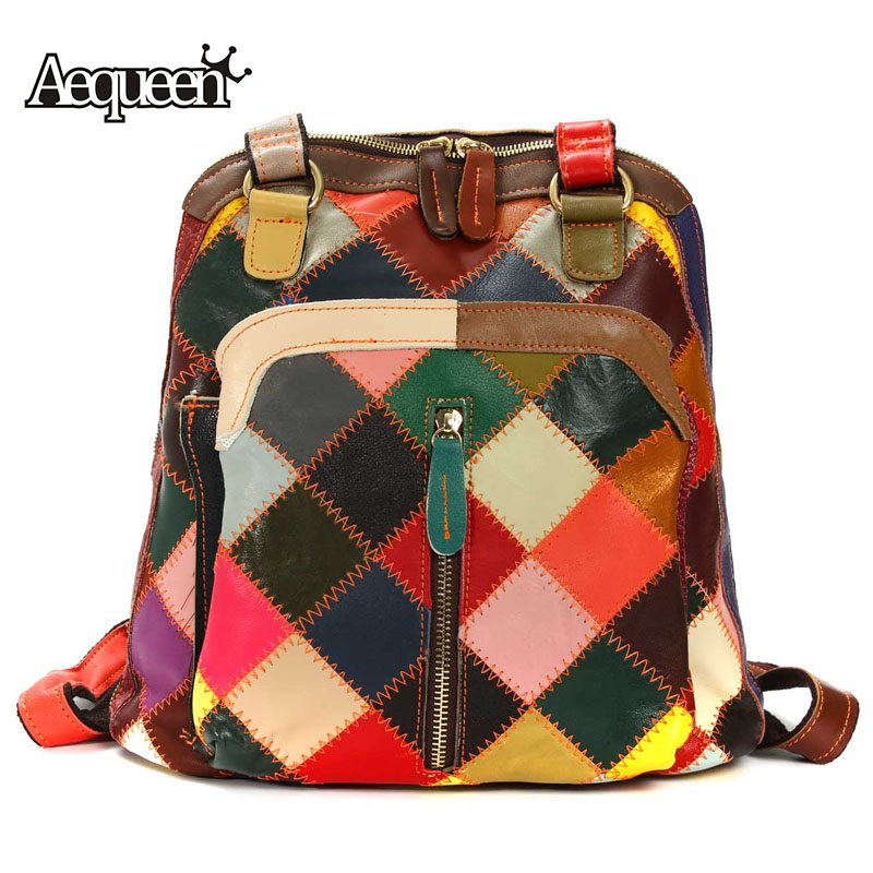 AEQUEEN Women Backpack Genuine Leather Colorful Patchwork Plaid Pattern Vintage School Bags Casual Shoulder Bag Random Color