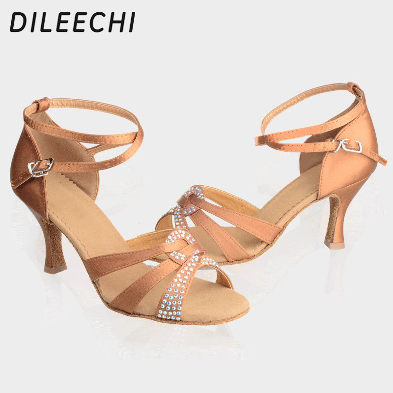DILEECHI brand Black satin rhinestones bronze Latin dance shoes female  adult high heeled women s Square dance shoes 21bcdae2ee03