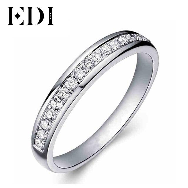 EDI Твердые 9 К белого золота кольцо для Для женщин леди Обручение кольцо Pave Имитация Ювелирные изделия с алмазами соответствующие Обручальные кольца (SNR-116)