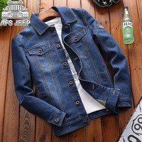 AFS JEEP Brand Autumn Winter Men Denim Jackets Embroidery Spring Bomber Jeans Jacket Male Coat Mens