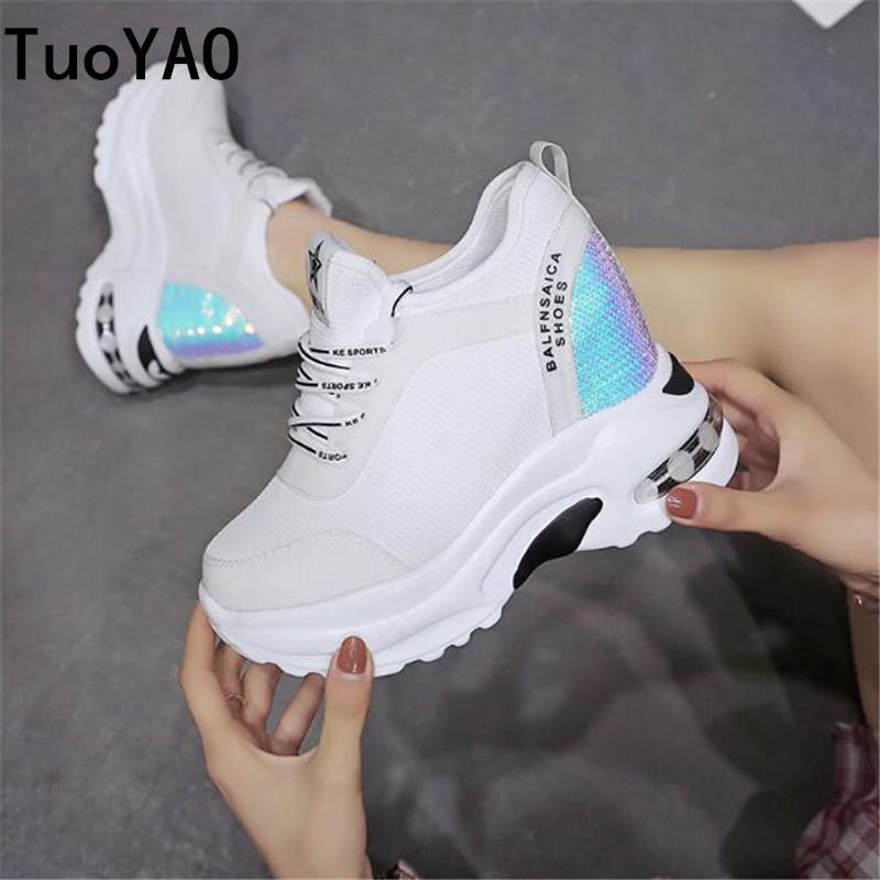 Fashion 2019 Spring Platform Sneakers 9 CM High Heel Women Bling Shoes Mesh Wedge Sneakers Summer Breathable Casual Shoes Woman