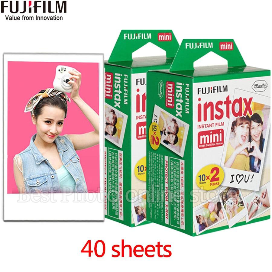 Original 40 feuilles Fujifilm instax mini 9 film Bord blanc 3 pouce large film pour Appareil Photo Instantané mini 8 9 7 s 25 50 s 90 papier Photo