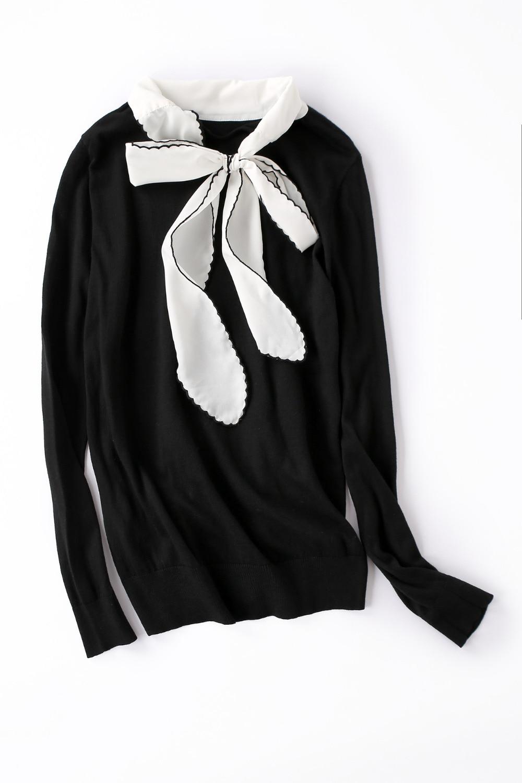 C1875 Noir Occasionnel À Longues 2018 Automne Volants Printemps Femmes Mince Pull Tricoter Tricoté Arc Col Manches Chandail I7gybY6vf