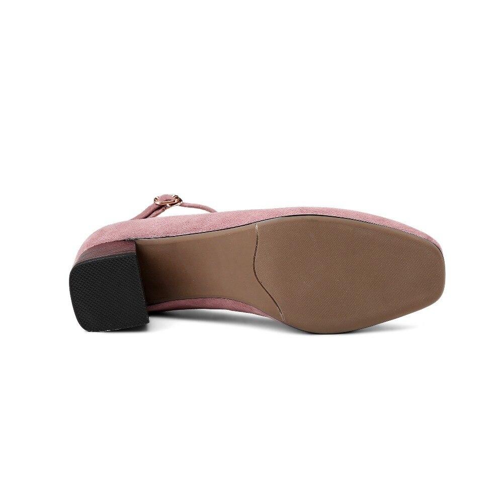 green Femmes Mode pink Talon Cheville Décontractées Qualité Moyen Moutons En Mary Bout Ol Carré Sangle Kickway Pompes Chaussures Black Jane Véritable Daim g4dwRwq