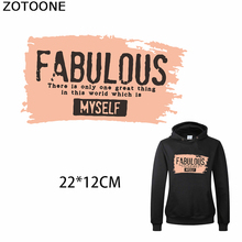 ZOTOONE Fabulous Myself Patches Diy Iron on Transfer Patch Sweatshirt Letters Applique Heat T-shirt Clothing Decorations E