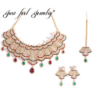 JUST FEEL India Wedding Crystal Jewelry Sets For Women Gold Color Imitation Pearls Necklace Earrings Headdress Charm Accessories