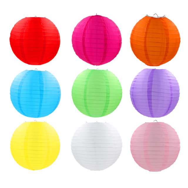 AJP 10pcs/lot round waterproof nylon lantern Outdoor Hanging Silk lampion Grand Event decoration birthday party wedding supplies
