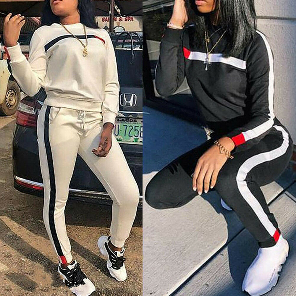 2Pcs Ladies Tracksuit Casual Sportswear Long Sleeve Crop Tops Long Pants Sets Suit Womens Sport Lounge Wear Running Workout Gym Sweatshirt Pullover Jumper Outfit