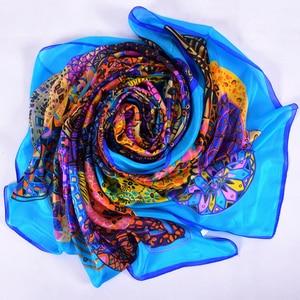 Image 3 - Brand Blue Ladies Long Silk Scarf Shawl 2017 Summer Fashion Beach Shawl Cover Ups Women Pure Silk Scarves Wraps Yellow Orange
