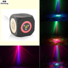купить Led Bluetooth Laser Audio Stage Light DC/TF Card Double Speaker Double Voice Control Disco Ball KTV Dj Party Lights Christmas недорого