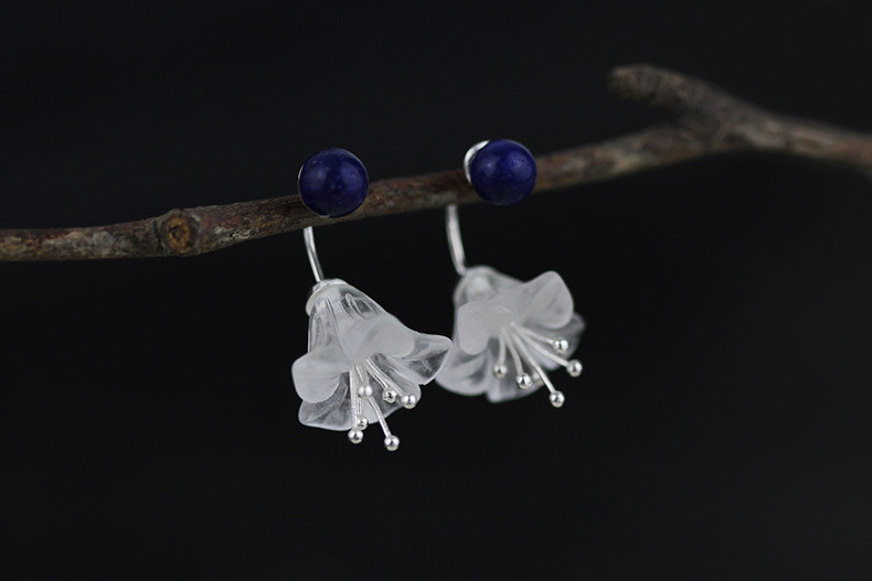 LiiJi Unique Natural Stone Blue Lapis lazuli Crystal flowers Stud Fashion Earring for Women Nice Gift