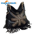 Chuwanglin Fashion black PU rivet tassel women's handbags leisure streets of the wind shoulder bags inclined messenger bags #011