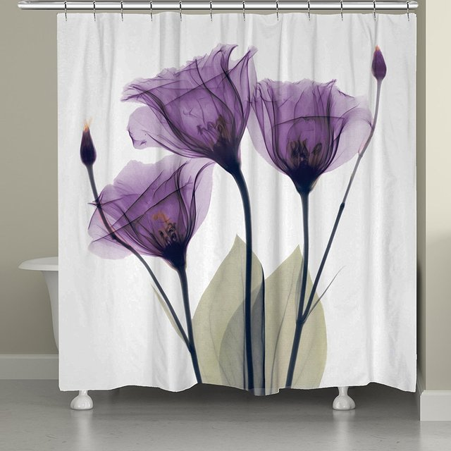 Memory Home Modern Purple Flowers Printing Waterproof Fabric Polyester Bathroom Product Shower Curtain With 12 Hooks