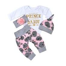 Комплект одежды с цветочным рисунком для маленьких девочек от 0 до 18 месяцев, комбинезон с длинными рукавами для новорожденных, штаны повязка на голову, комплекты одежды комплекты повседневной одежды