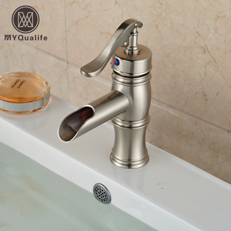 Free Shipping Waterfall Basin Vanity Sink Mixer Faucet Brushed Nickel Single Handle Hot Cold Water  Bathroom Taps deck mount creative design basin sink faucet single handle chrome hot cold water vanity sink mixer taps