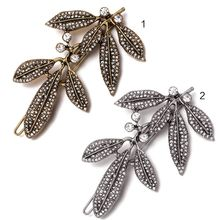 Minimalist Vintage Leaf Shaped Hair Clip Ladies Classical Glitter Rhinestone Frog Bobby Pin Metal Alloy Wedding Styling Barrette