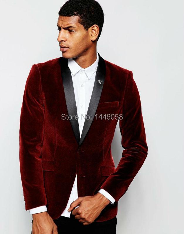 2018 Burgundy Velvet Jacket Black Satin Lapel Groom Tuxedos Suits For Men Groomsman Men Wedding Suits Prom Tuxedos With Pants