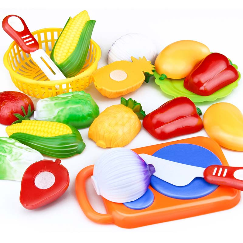 12 Pcs Set Kids Kitchen Toy Plastic Fruit Vegetable Food Cutting Pretend Play Early Educational Children Toys @Z394