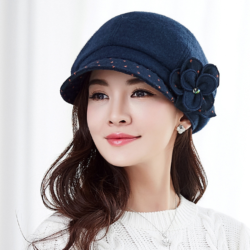 Whoelsale Wool Beret Hats Lady Winter Latest Fashion Hat Korean Flower Felt Hat Women Autumn And Winter Woolen Newsboy Caps wool felt chain embellished beret hat