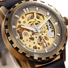 Cool Retro Bronze Sawtooth Case Design Skeleton Automatic Self-wind Skeleton Mechanical Watch With Leather Strap To Men Women