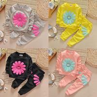 Sun Flower Cute T Shirt Jumper Tops Pants Outfit Clothing Spring Fall New Kids Infant