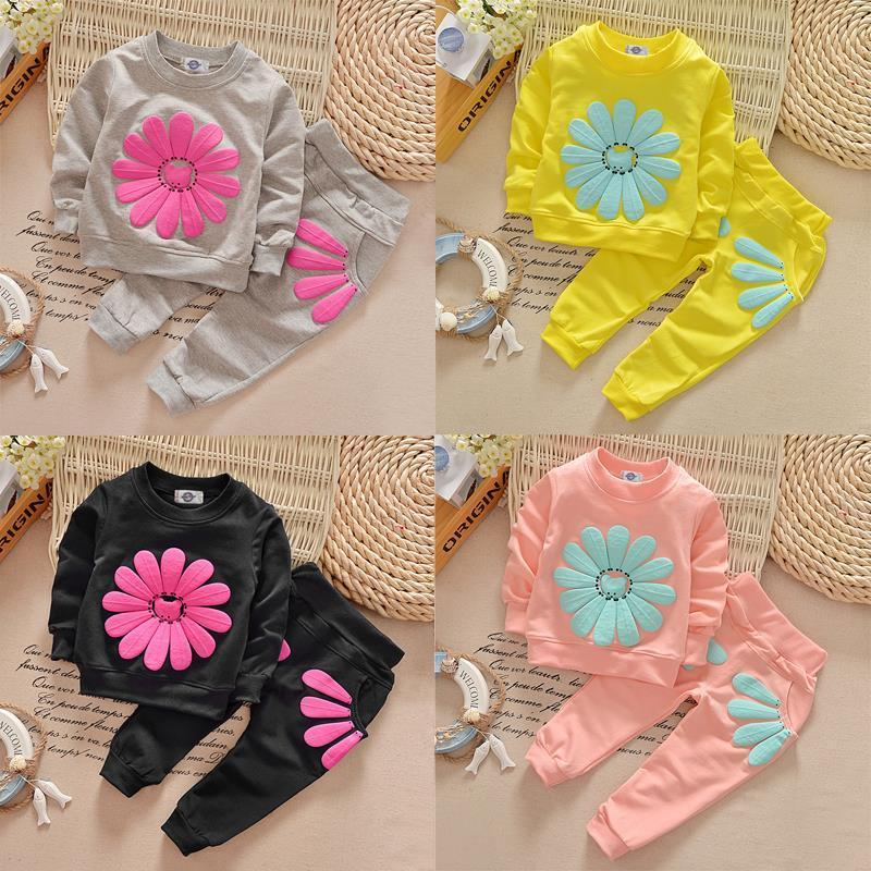 Sun Flower Cute T-shirt Jumper Tops + Pants Outfit Clothing Spring Fall New Kids Infant Baby Girls Clothes Sets 1 2 3 4 Years girls tops cute pants outfit clothes newborn kids baby girl clothing sets summer off shoulder striped short sleeve 1 6t