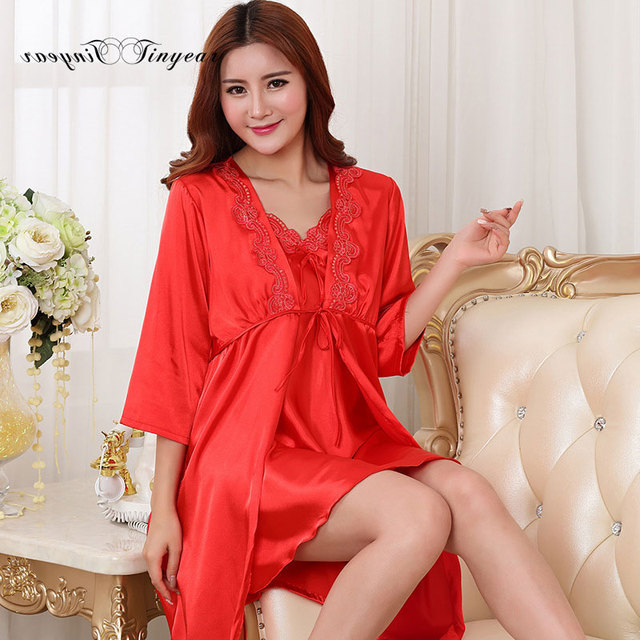 Tinyear high quality silk robes set sexy floral embroidery v neck full sleeve long womens robe sleepwear set with bow design