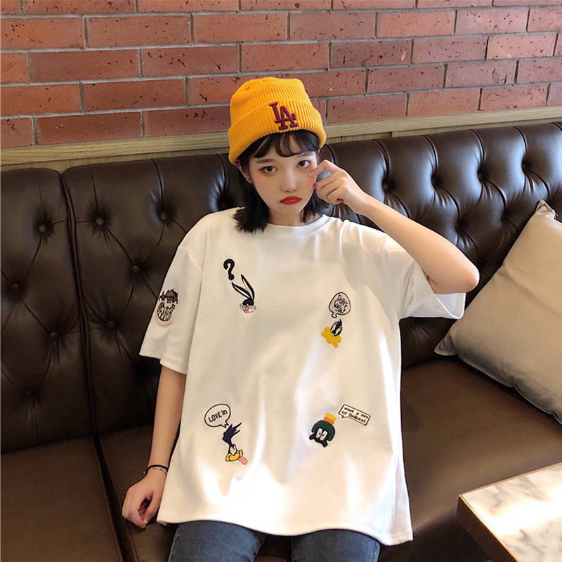 Plus Size Women's Summer T-Shirts 2019 New O-Neck Short Sleeve Cute Cartoon T-Shirt for Girls Students Lady BF Style Tops Tees 2