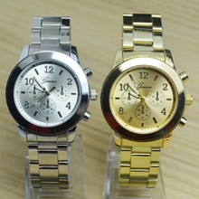 Plata de lujo de Oro Rosa de Oro de Acero Inoxidable Completa de Ginebra Reloj de pulsera de Cuarzo Reloj de Pulsera de Regalo para Mujeres Hombres Niñas Damas