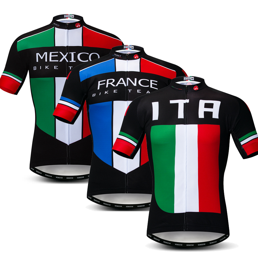 Italy France Mexico Style Men Cycling Jersey Shirt Short Sleeve Maillot Ropa Ciclismo MTB Bicycle Clothing Breathable Bike Top