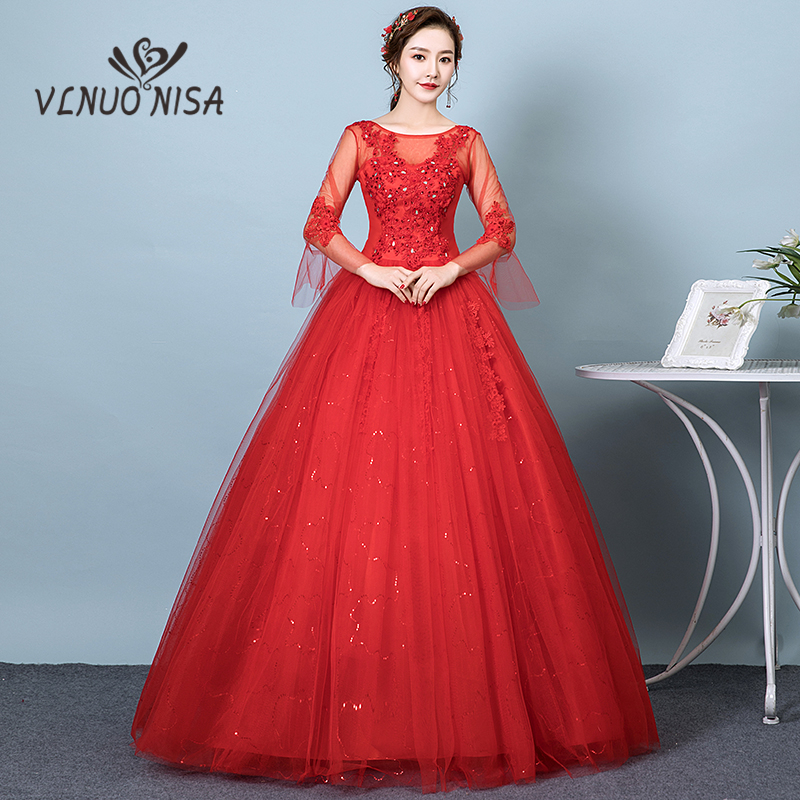 FLASH SALE) VLNUO NISA Simple Red Wedding Dress Boat Neck ...