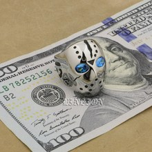 Blue CZ Eyes Solid 316L Stainless Steel Halloween Jason Mask Hockey Mens Biker Rocker Punk Ring 3F101