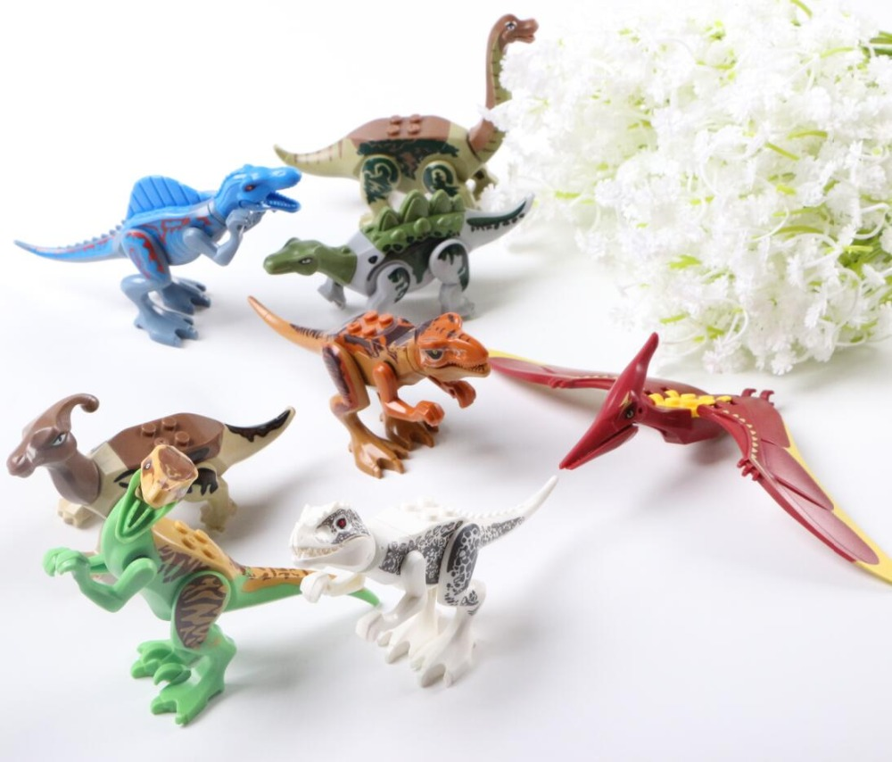 80pcs/set Super Heroes Jurassic Dinosaurs World Figures Tanystropheus Tyrannosaurus Rex Building Block Bricks Toys For Children single dinosaurs tyrannosaurus rex triceratop pterosauria velocirapto movie mini building blocks toys legoings jurassic world