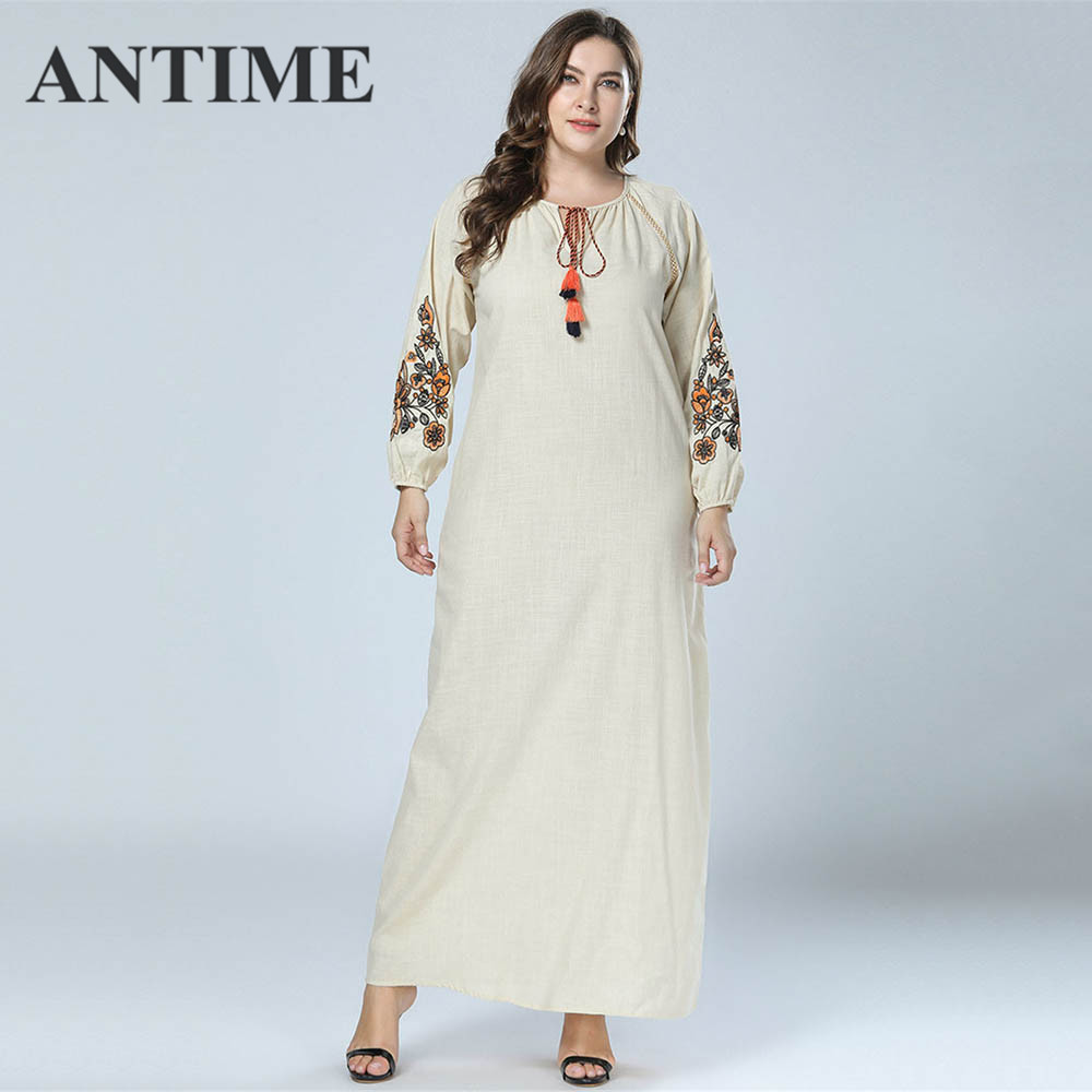 ANTIME 4XL Clothes for Women Dress with Embroidery Autumn Winter Tassel Fringed Dress Floral Sweet Plus Size Women's Dresses