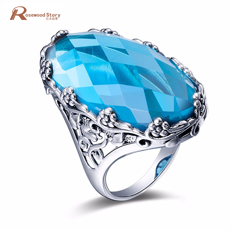 Authentic Real 925 Sterling Silver Love Knot Finger Ring with Sky Blue Stones For Women Engagement Ring Tibet Handmade Jewelry