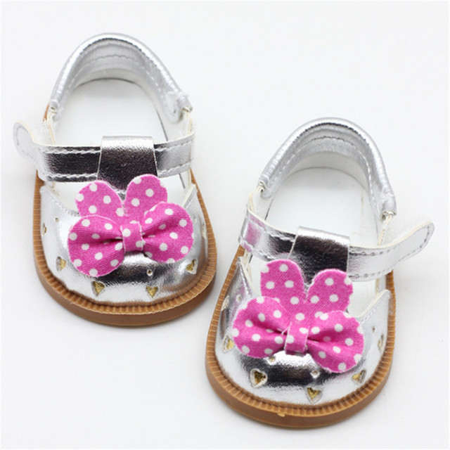 1 Pair Cute Bow Princess Shoes for 18 inch American Doll Glitter Doll Shoes Bow Dress Shoes for 43cm Doll 3 Colors for Choose | american doll
