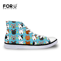 FORUDESIGNS Cartoon Bull Terriers Print Women Vulcanize Shoes Flat Canvas Casual Female Spring Autumn Woman Student Walking Shoe