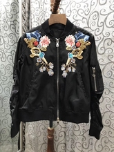 2017 new women zipper wrinkle sleeve embroidery jacket short jacket 821