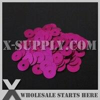 5mm Round Flat Loose Sequin Paillette For Shoe Bag Clothing Fuchsia Metallic Bulk Wholesale