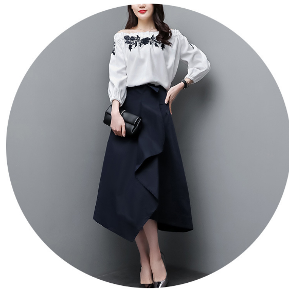 Mr.nut 2019 spring new Korean chiffon shoulder white blouse + fashion irregular skirt suit fashion two-piece