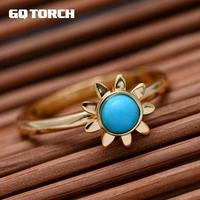 GQTORCH Real Pure 925 Sterling Silver Sun Flower RIngs For Women With Natural Green Turquoise 18k