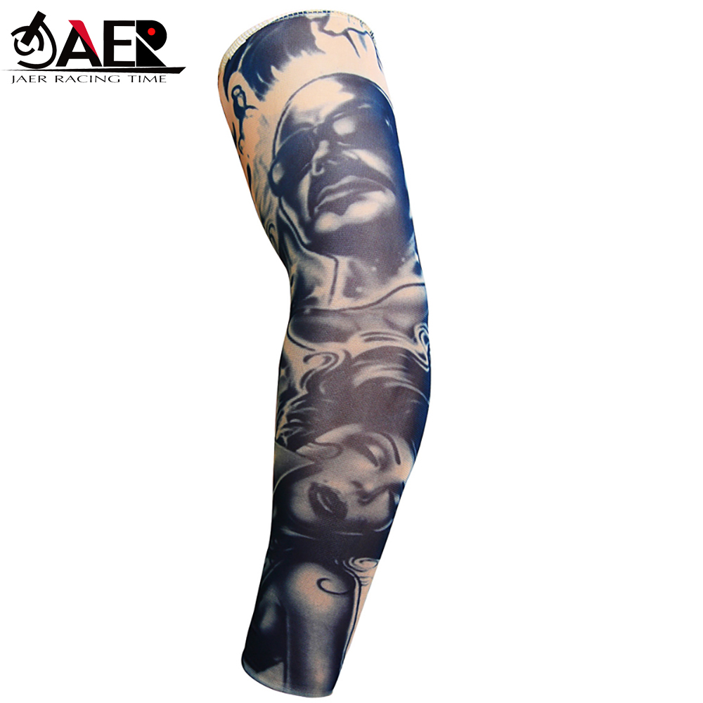 JAER 1Pcs UV Protection Running Cycling Arm Warmers Motorcycle Arm Sleeves Bicycle Bike Arm Covers Golf Sports Elbow Pads