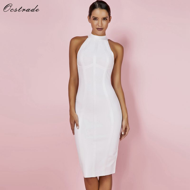Ocstrade Sexy Women White Bandage Dress 2019 New Arrivals Striped Halter Midi Bodycon Dress High Quality Bandage Rayon Dress