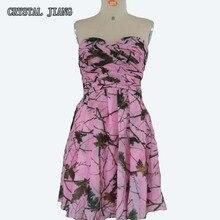 Camo Bridesmaid Dresses Real Image Chiffon Pink Short Country Dress Boho Custom Made Adult Junior Floral Bridesmaid Dress
