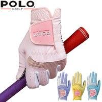 Marca POLO Senhora De Golfe Luvas Par Feminino Anti-derrapante Granulado Confortável Respirável Sportwear Resistência À Direita & Esquerda Mãos Luvas