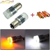 Modify.Era 2pcs BAY15D 1157 2357A Car Canbus Error LED Bulb Cree Chip For DRL Turn Signal Light Dual Color Switchback Auto Light