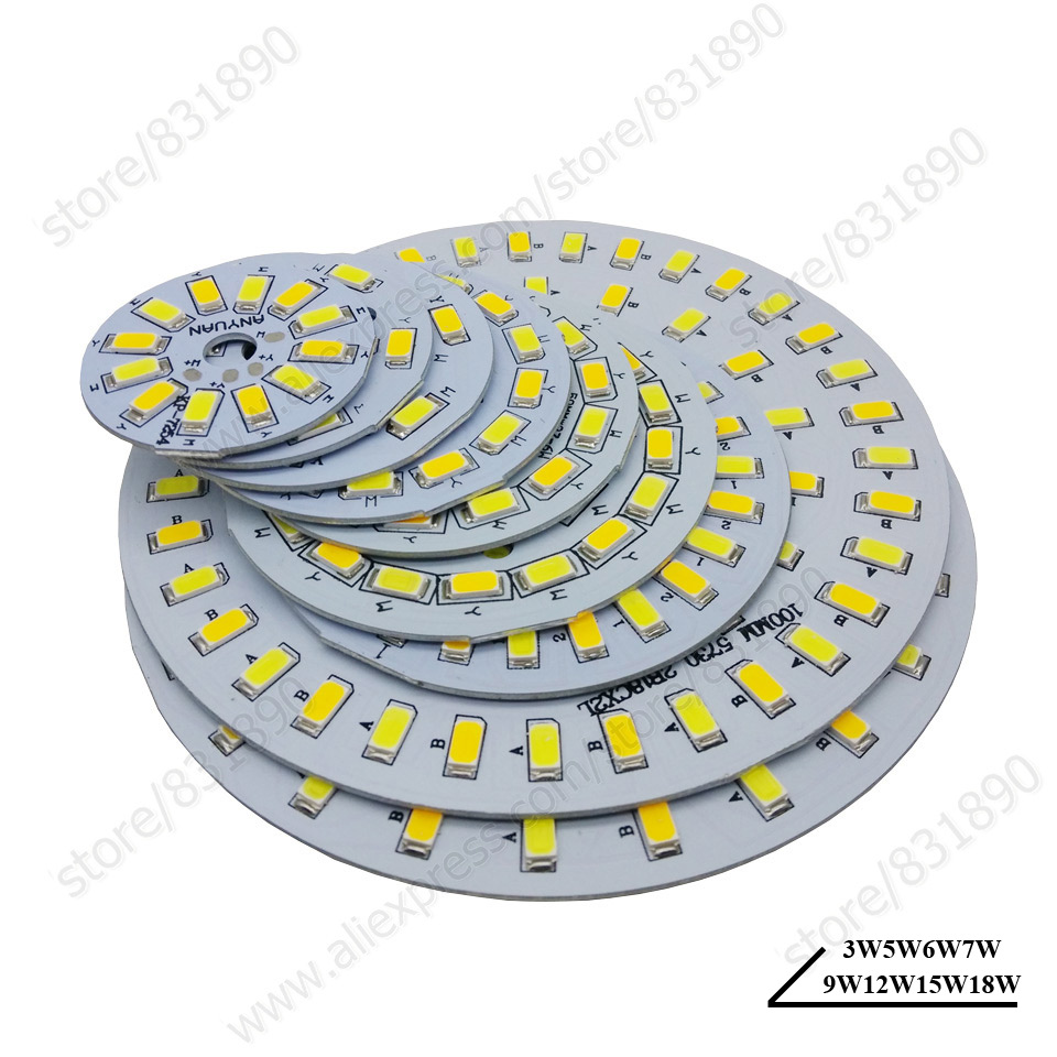 5pc High power LED PCB SMD5730 lights source lamp panel Dimmable 3W 5W 7W 9W 12W 15W 18W Aluminum plate for led bulb downlight